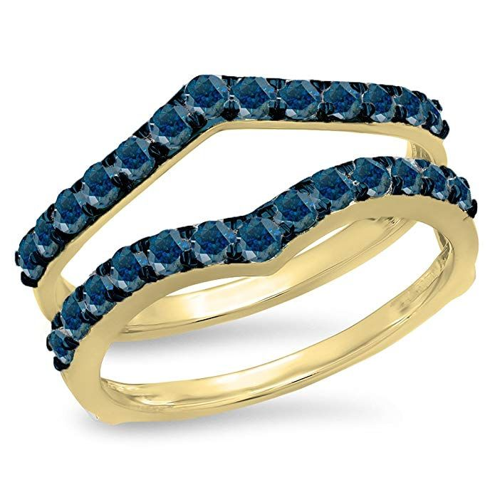 a8e87273d6f2b Dazzlingrock Collection 0.95 Carat (ctw) 14K Gold Round Blue Diamond ...