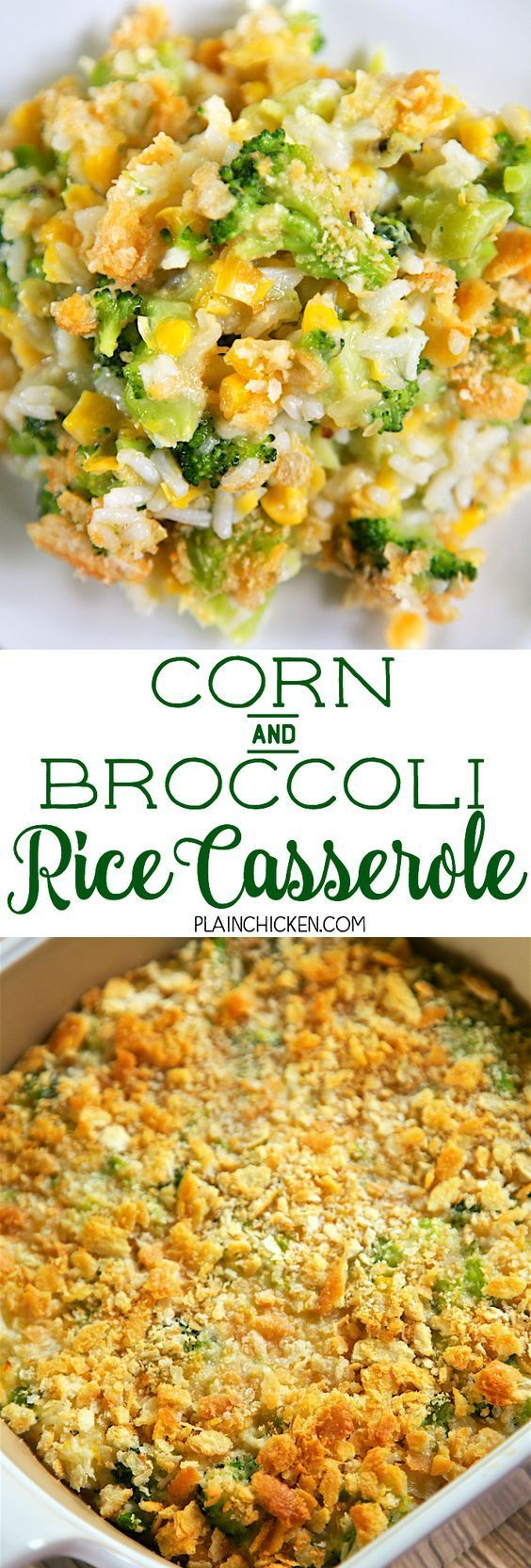 and Broccoli Rice Casserole Corn and Broccoli Rice Casserole - so simple and SO delicious! Everyone cleaned their plates - even our picky broccoli haters! Cooked rice, creamed corn, broccoli, onion and garlic topped with butter and crushed Ritz crackers. You might want to double the recipe for this quick side dish - this didn't last long in our house!C...