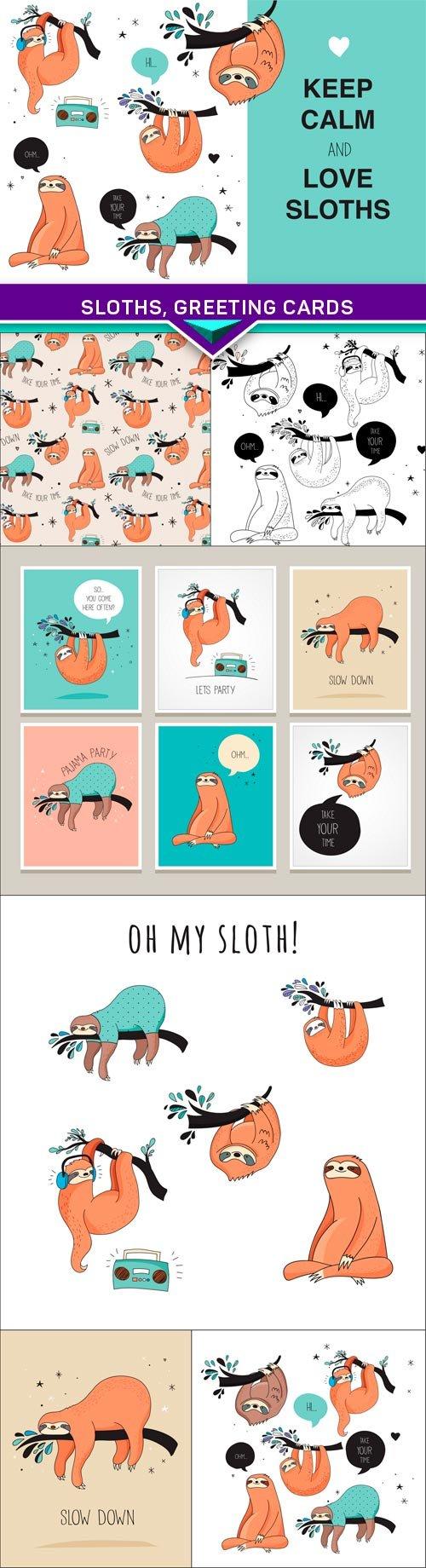 Sloths, greeting cards 7x EPS | Pinterest