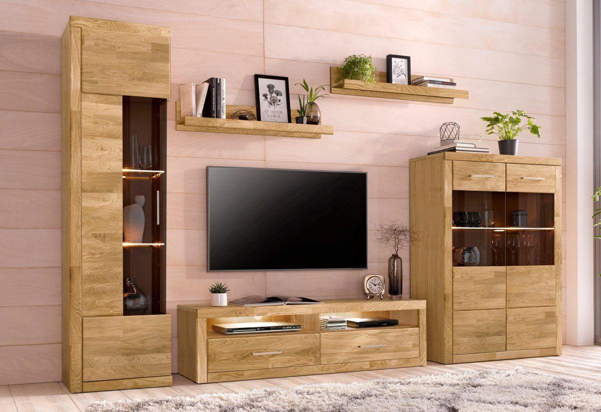 Wohnwand braun, pflegeleichte Oberfläche, FSC®-zertifiziert ...