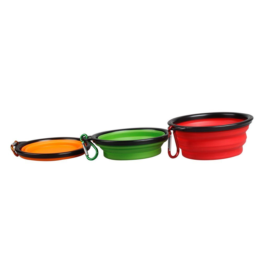 3pcs Menpet Collapsible Pet Travel Bowl Water Feeder Bowl Dog Cat Portable Bowl