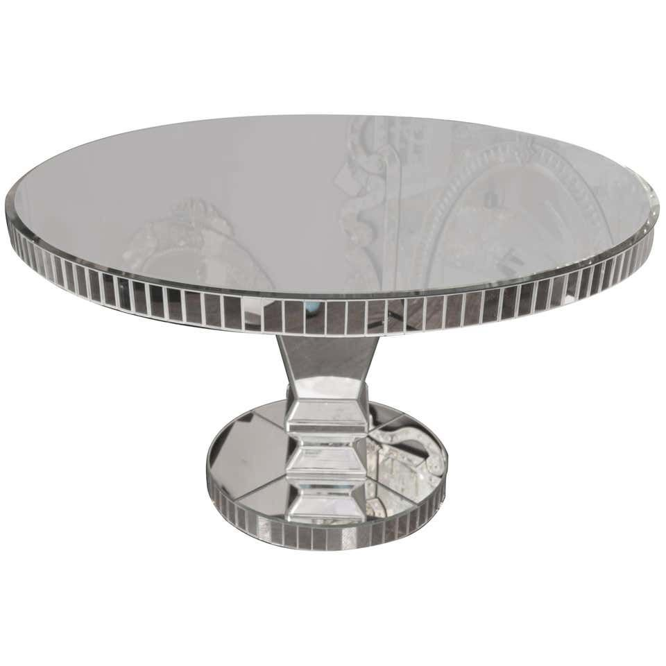 Custom Round Mirrored Dining Table Dining Room Table Marble Circular Dining Table Walnut Wood Dining Table