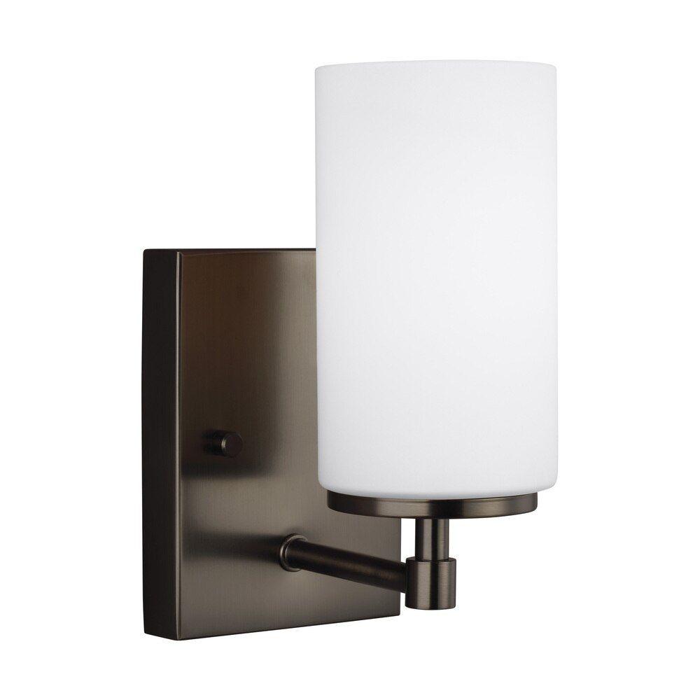 One Light Wall Bath Sconce 38 4124601en3 778 In 2021 Bathroom Sconces Sconces Sea Gull Lighting
