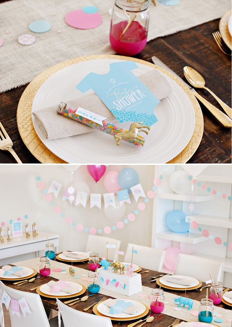 Gender Neutral Royal Safari Baby Shower Ideas + tips on using paper details to create a unique & stylish party! @HowLifeUnfolds