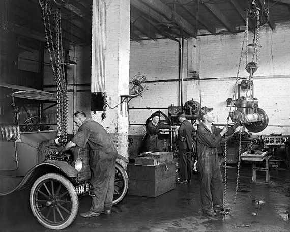 Classic Car Wallpaper Murals Auto Repair Shop 1920 Vintage Photo Digital Download