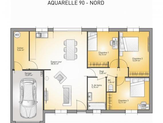 Modele De Maison Aquarelle 90 Debord Toiture Plate Photo 1
