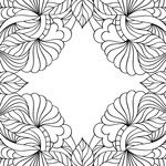 Black and white abstract frame with leaves, page of colouring book