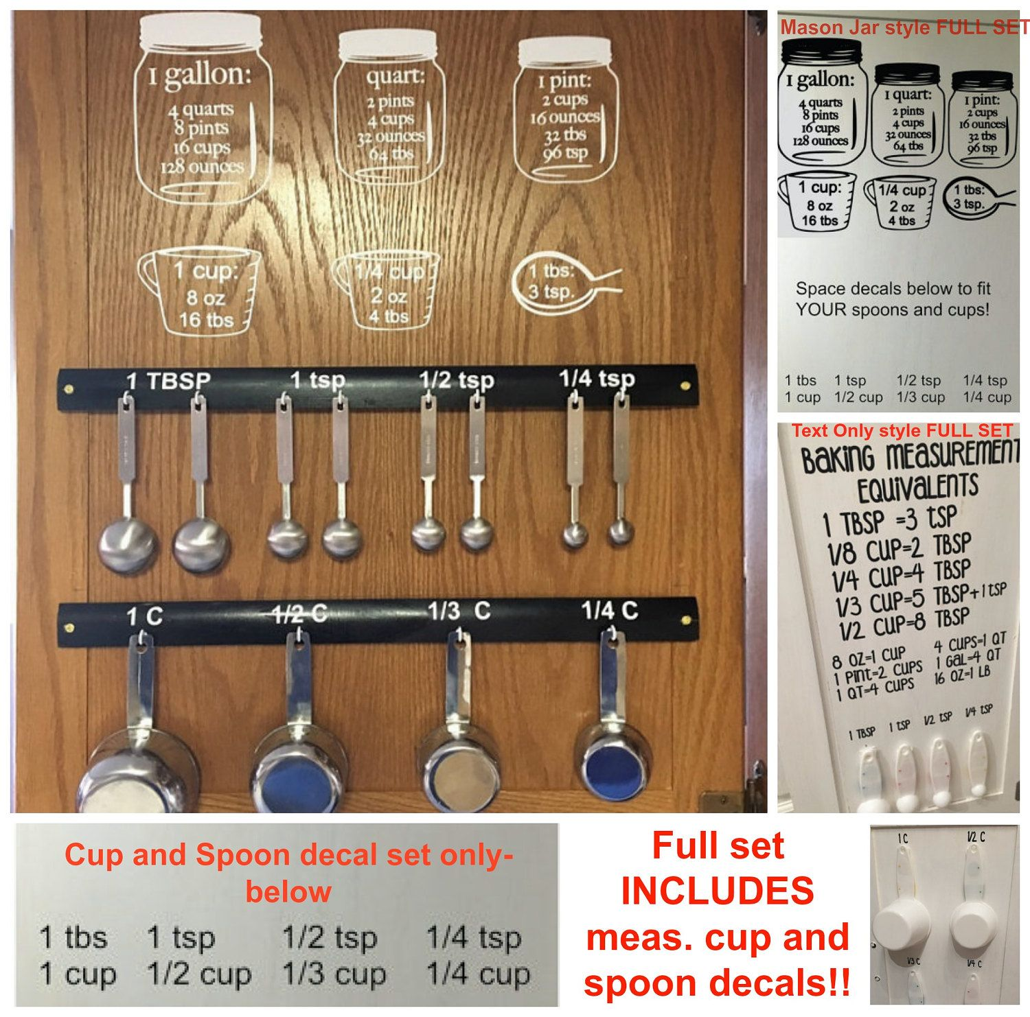 Measuring For Kitchen Cabinets: Baking Measurement Equivalents Vinyl Wall Decal Sticker