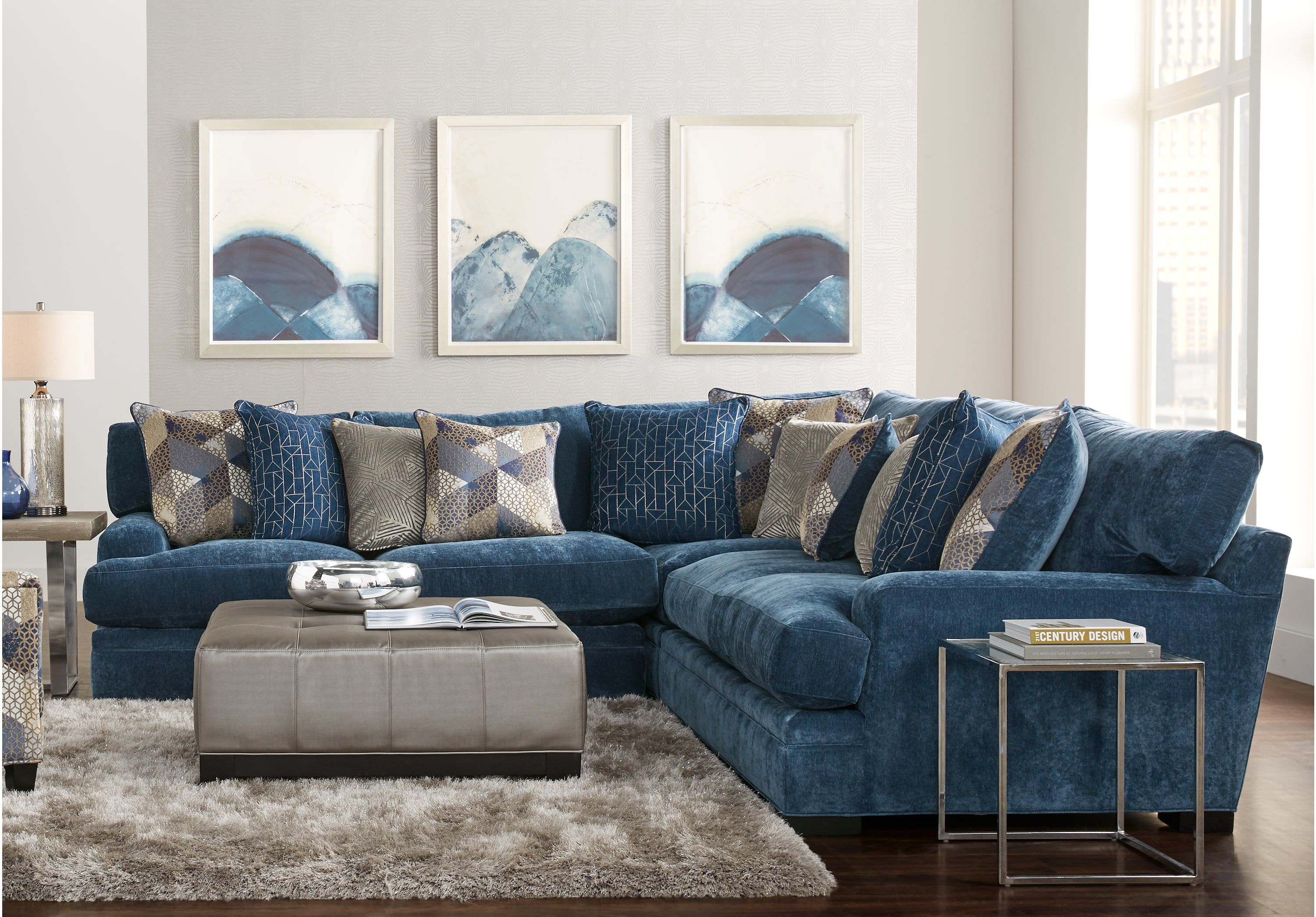 Cindy Crawford Home Beverlywood Navy 3 Pc Sectional Living Room Sectional Blue Sofas Living Room Living Room Sets