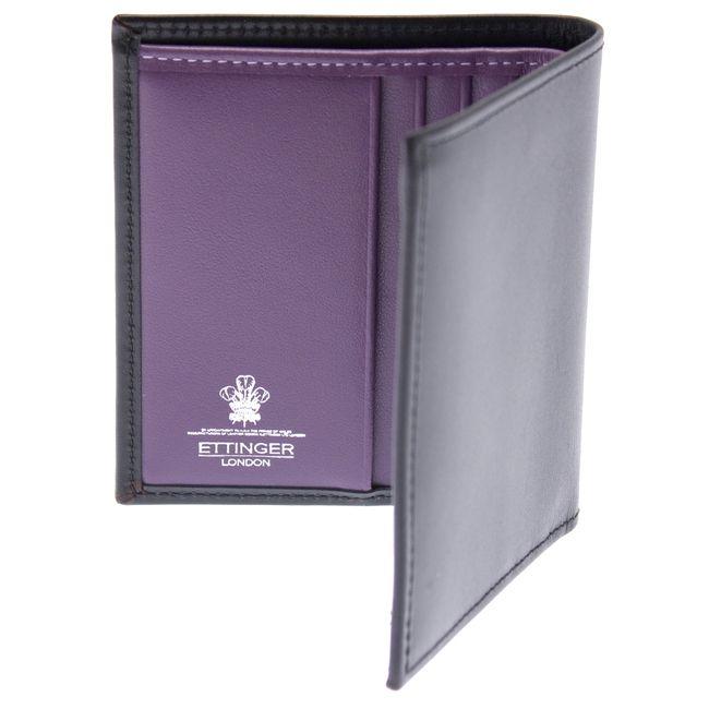 Ettinger London Luxury Leather Sterling Purple Mini Wallet w. 6 C/C