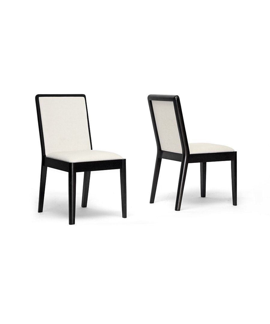 The Baxton Studio Maeve Dark Brown and Cream Modern Dining Chair Set of 2 at Bluefly.