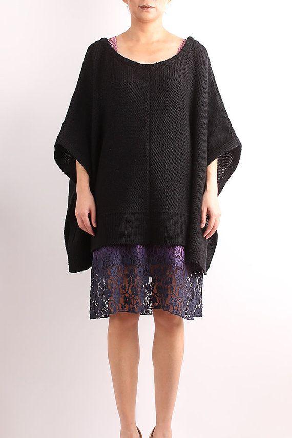 Knit poncho, wool poncho, handmade poncho, women poncho,handmade knit poncho, black knit poncho, black knit cape, black  knit cape