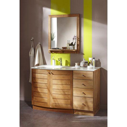 Meuble de salle de bains teck naturel wellington marron - Meuble salle de bain naturel ...