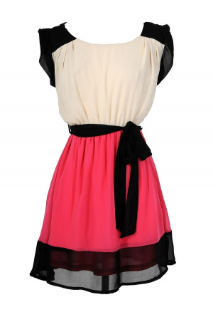 Colorblock Hot Pink and Black Chiffon Dress//