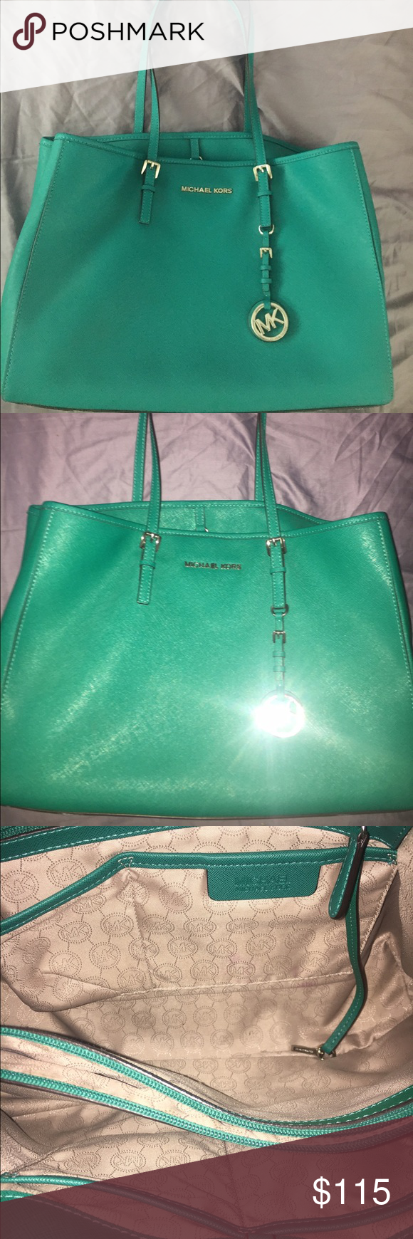 Michael Kors Tote Beautiful color teal/green. Great condition super roomy bag and 100% authentic Michael Kors Bags Totes