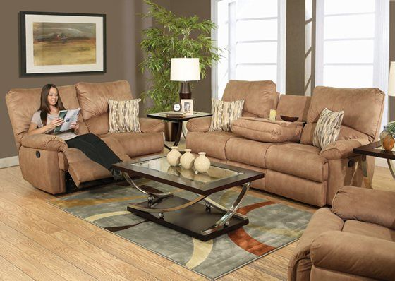 Delightful Regan Tan 5 Piece Reclining Living Room