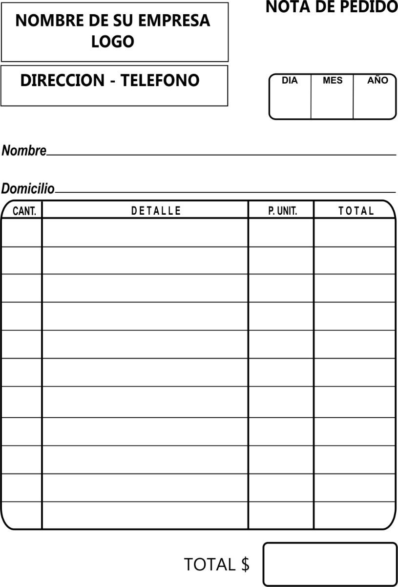Notas De Pedido Facturas Pedidos Uso Interno Imprenta 94 Mlu4653467370 072013 F Jpg 815 1 200 Pixels Formato De Carta Presupuesto Excel Cotizacion Formato