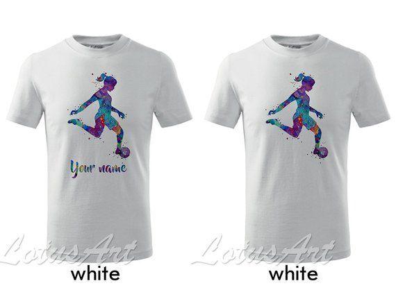 23667e64b Girl Soccer Player Watercolor Kids T-shirt Sports Kids T-shirt Children T- shirt Personalized Kids T-shirt Custom Girl T-shirt Gift T-shirt