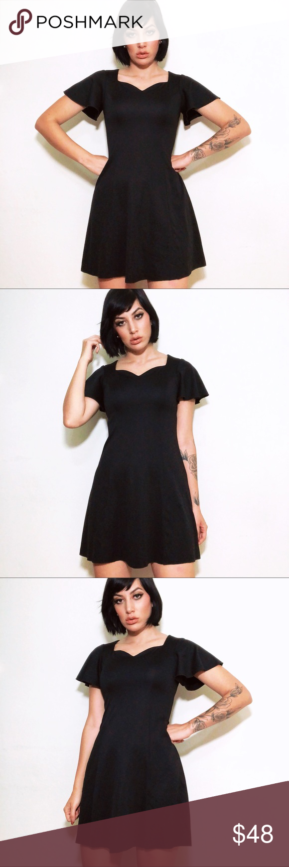 60s Black Babydoll Sweetheart Neck Mod Mini Dress Mod Mini Dress Dresses Mini Dress [ 1740 x 580 Pixel ]