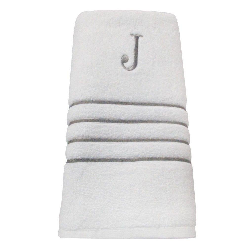 Monogram Bath Towel J White Skyline Gray Fieldcrest