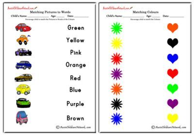 Matching Colours Worksheets, Matching Colour and Pictures