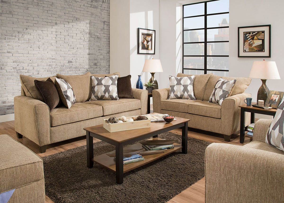Aiden 3 Piece Living Room Tan The Roomplace In 2020 With