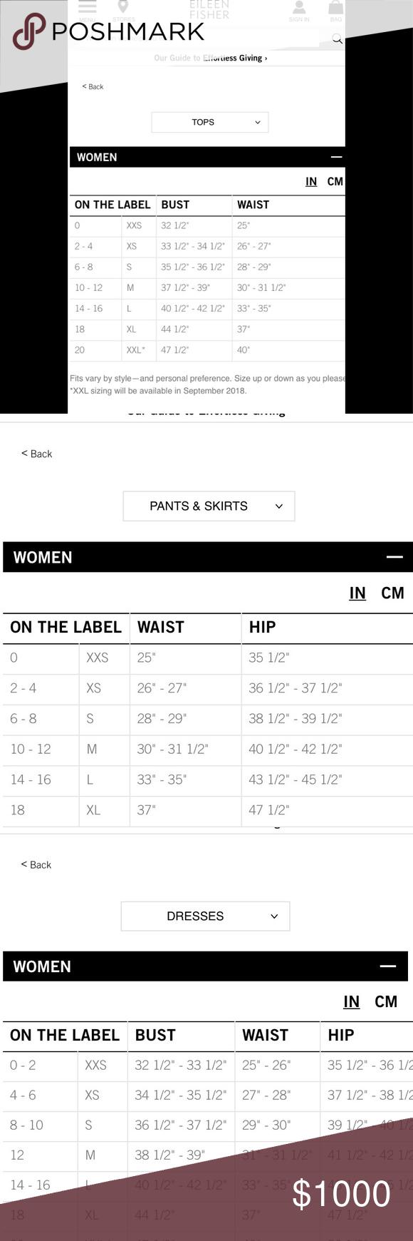 Eileen Fisher Size Chart Size Chart Eileen Fisher Dress Backs