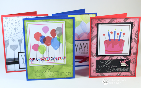 Quad Print Cards Featuring Surprise Stamps Clubscrap Birthday