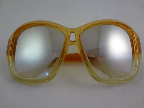Vintage-Avant-Garde-80s-Large-Mirrored-Orange-Yellow-Sunglasses-FG-Brand-8