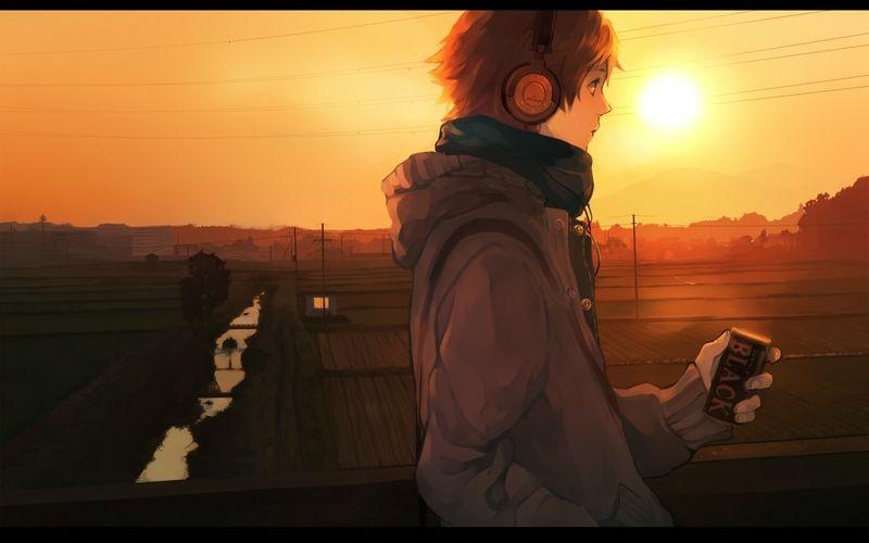 Orange hair and headphones sunset cool art pinterest