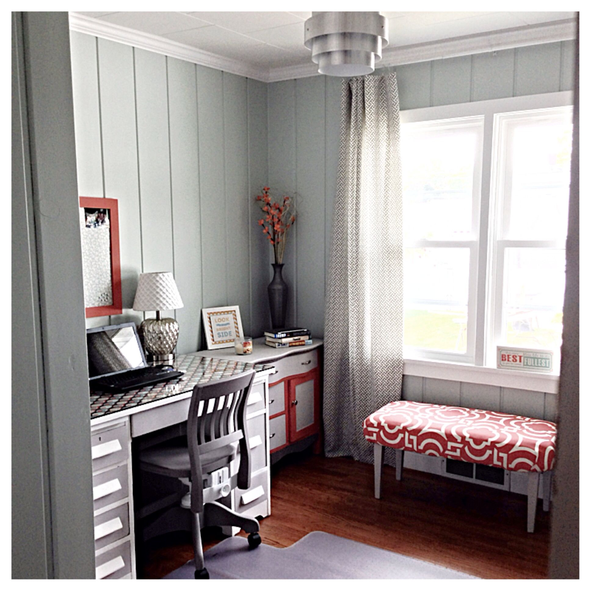 Office Sherwin Williams Sea Salt Chalk Painted Desk With Homemade Chalk Paint Diy Bench And Curtains Painted Desk Chalk Paint Desk Homemade Chalk Paint