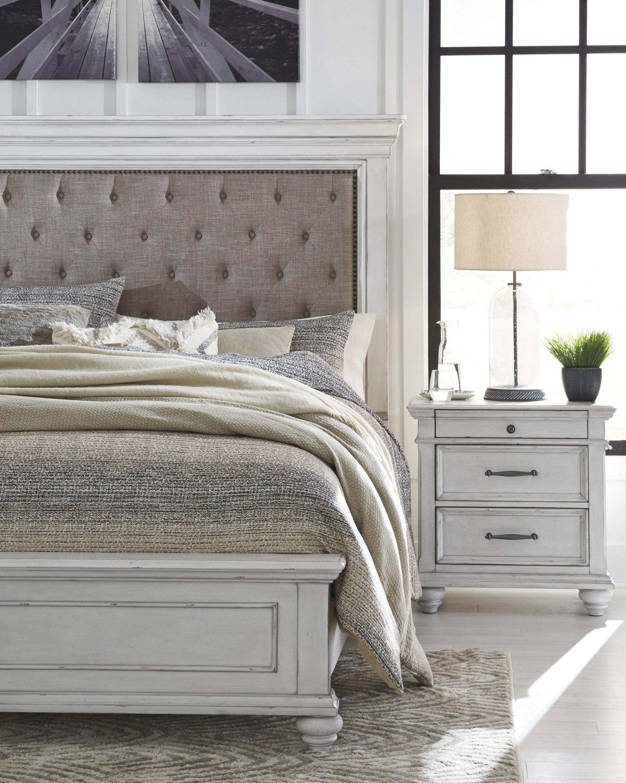 White Washed Bedroom Furniture Set Special Kanwyn Whitewash Upholstere In 2020 White Washed Bedroom Furniture Ashley Bedroom Furniture Sets Bedroom Furniture For Sale