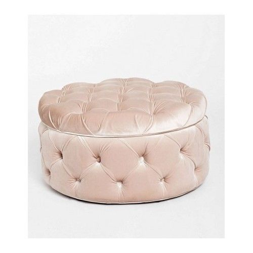 Pink Velvet Pintuck Ottoman Storage Foot Stool Rest Tail Tufted Bench Large