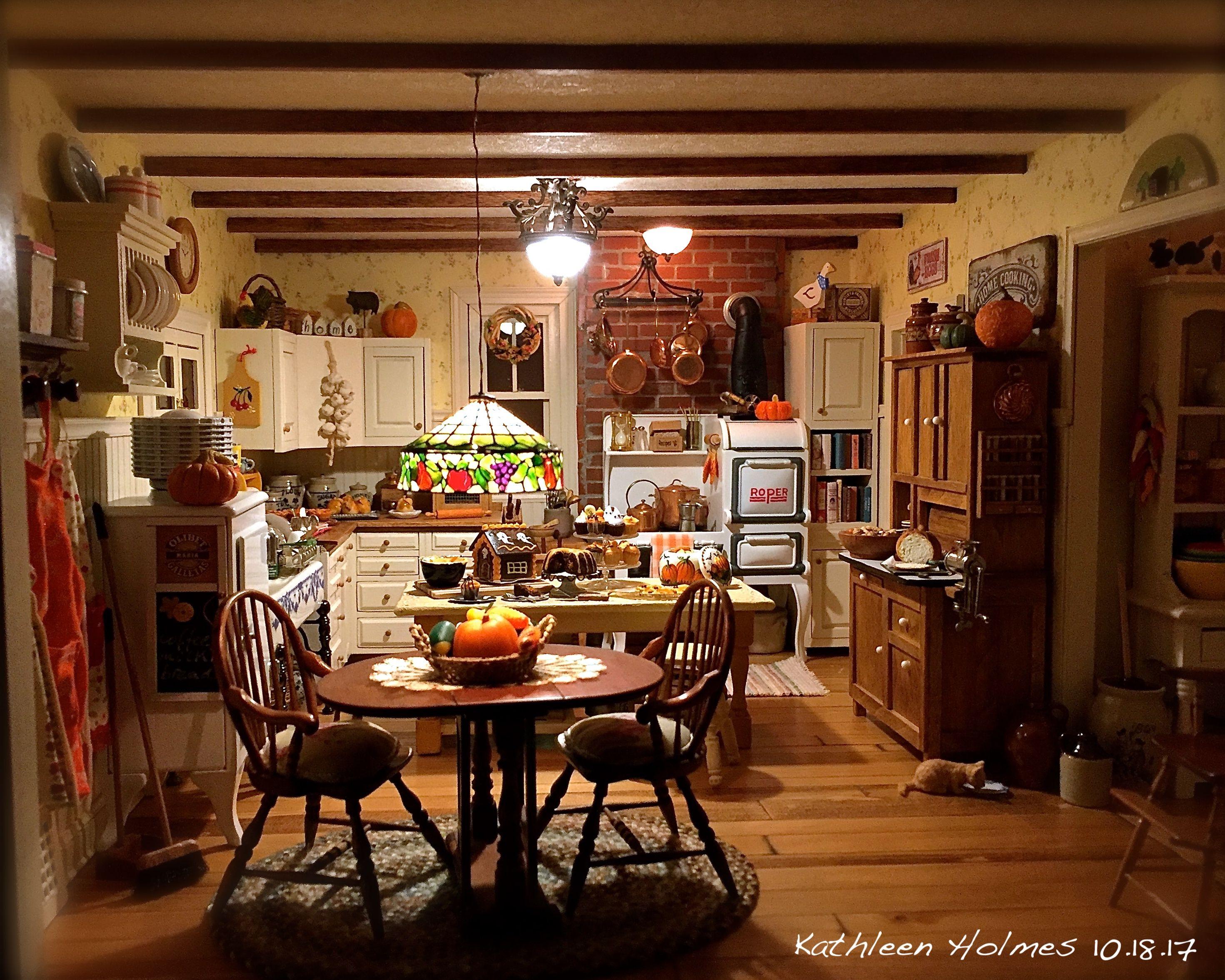 A Beautiful and Warm Farm Kitchen! Miniature kitchen
