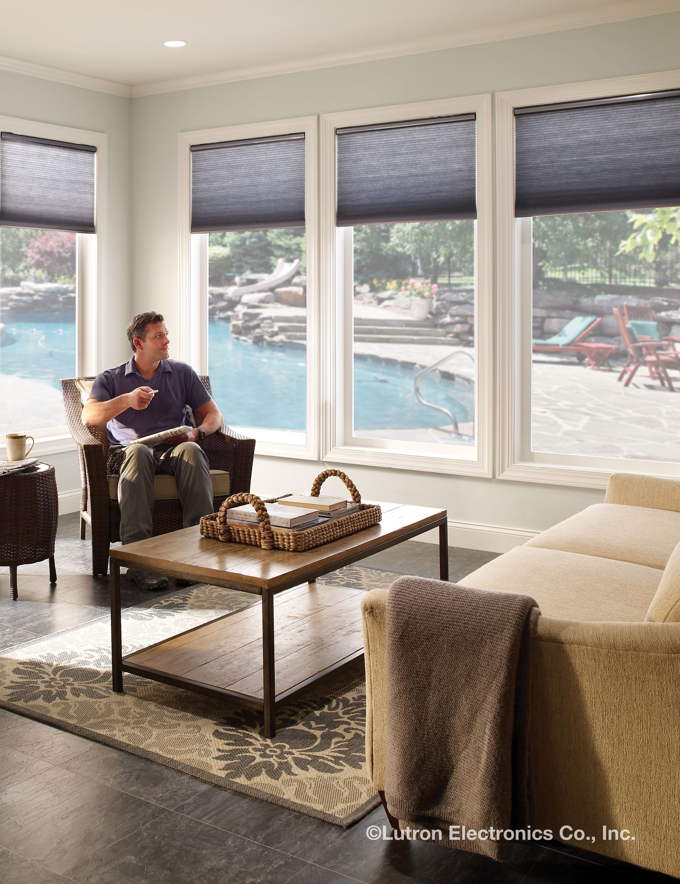 Window coverings to block sun  serena remote controlled shades from lutron are great for