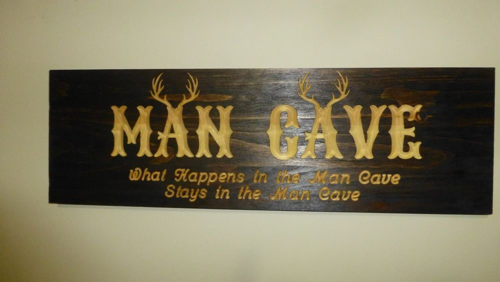 Hunters Man Cave Signs : Custom carved wood man cave sign rustic home bar decor hunting