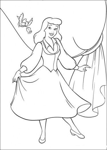Princess Cinderella Color Pages Printable Wanto To Give A Rose For Cinde Cinderella Coloring Pages Princess Coloring Pages Disney Princess Coloring Pages