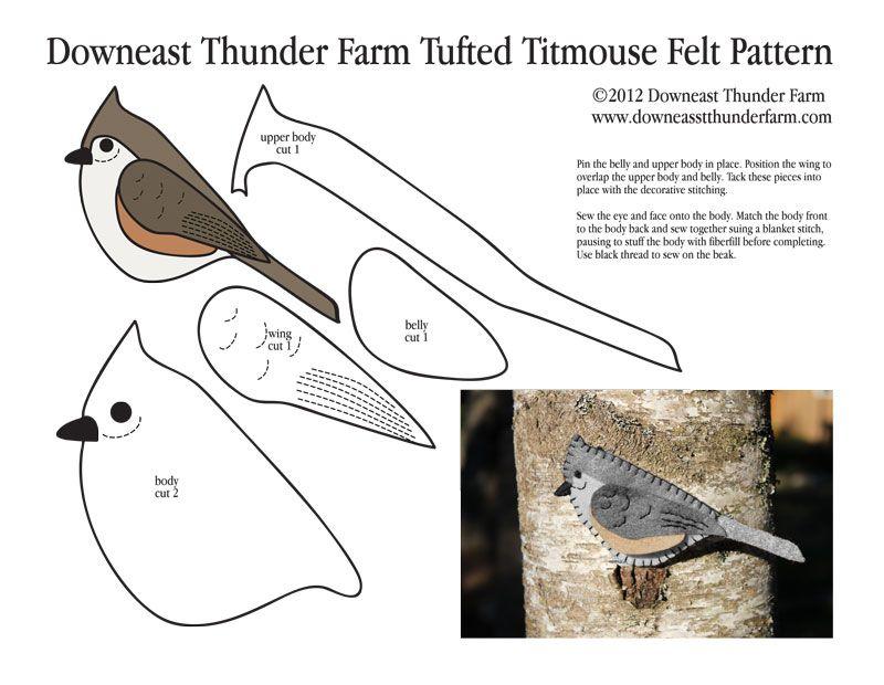 Tiny Tufted Titmouse Felt Ornament | Filz, Stricken und Basteln