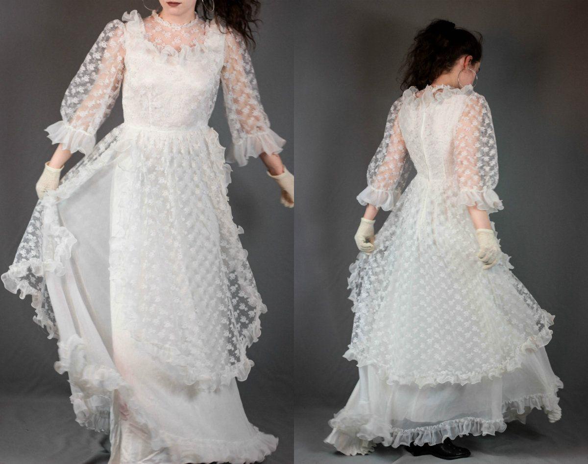 70 S Vintage Wedding Dress White Lace Prairie Dress Ruffle Etsy White Lace Wedding Dress Vintage White Lace Dress Lace White Dress [ 948 x 1200 Pixel ]