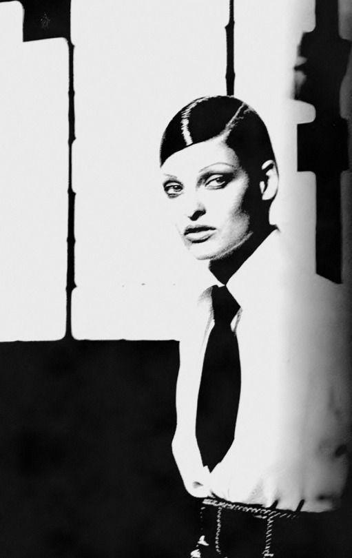 Linda Evangelista in K. Lagerfeld _ Photo by Peter Lindbergh, Harper's Bazaar, September 1992.
