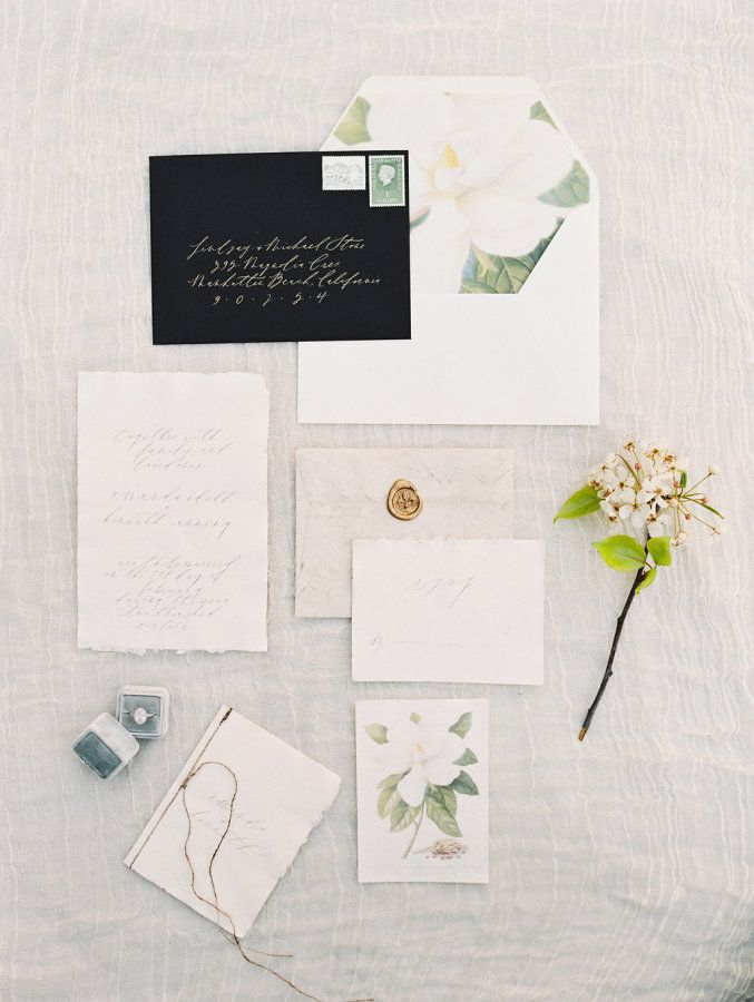 how to address wedding invitations inside envelope%0A Whimsical   Botanical Franciscan Gardens Wedding Inspiration