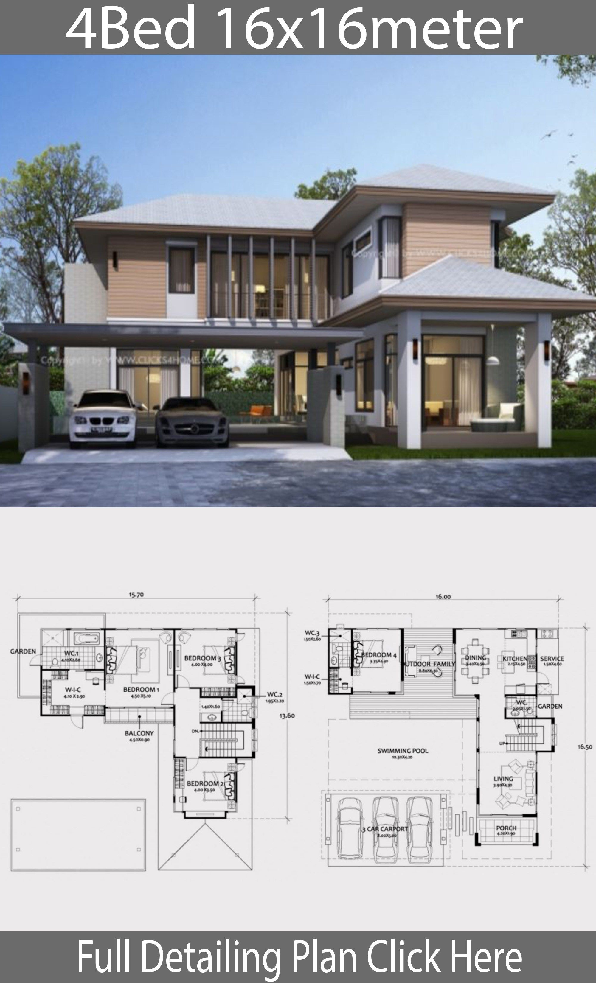Home Design Plan 16x16m With 4 Bedrooms Home Design With Plan Modern Style House Plans Beautiful House Plans Bungalow House Design