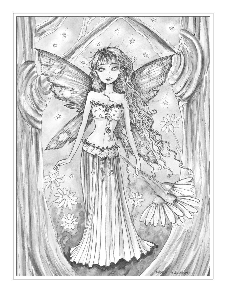 molly harrison beautiful faerie coloring page coloring pages
