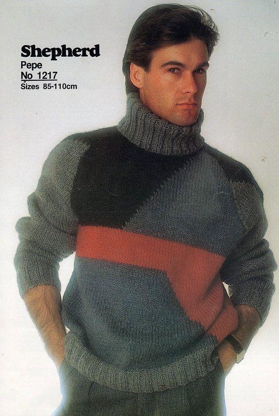Men\'s Sweater Patchwork Vintage Knitting pattern PDF Post FREE ...