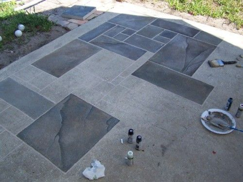 Concrete patio faux slate w i p wetcanvas home pinterest painted cement patio paint Exterior concrete floor coatings