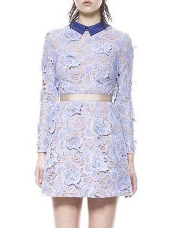 Purple Long Sleeve Floral Crochet Slim Dress - Sheinside.com
