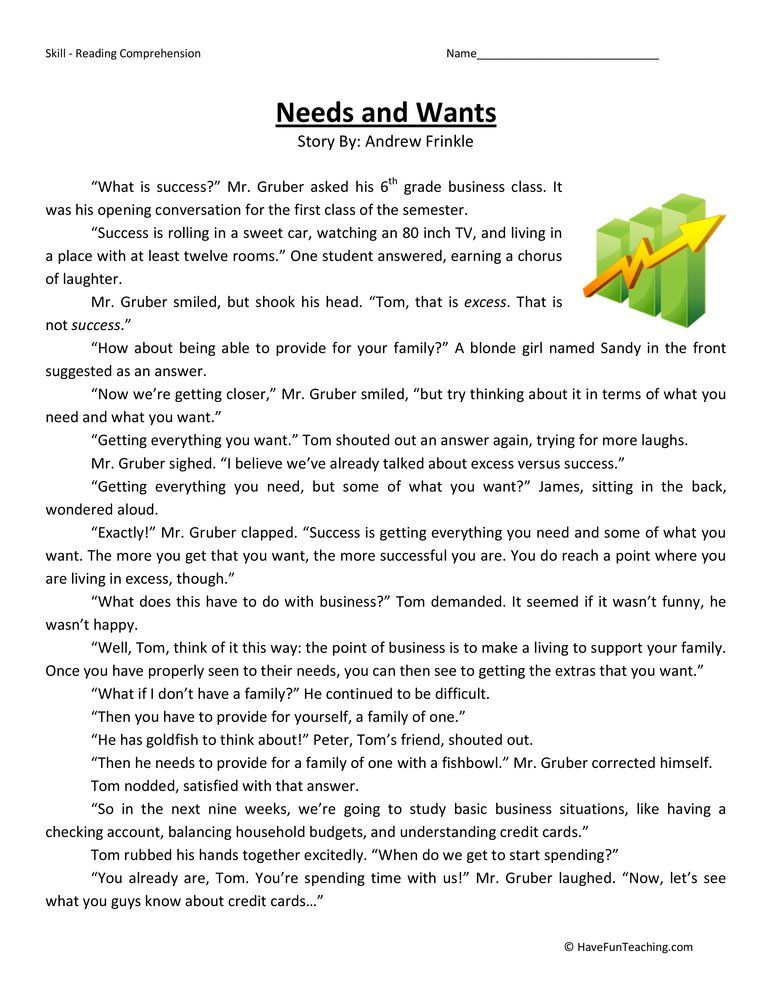 Needs and Wants Reading Comprehension Worksheet Обучение