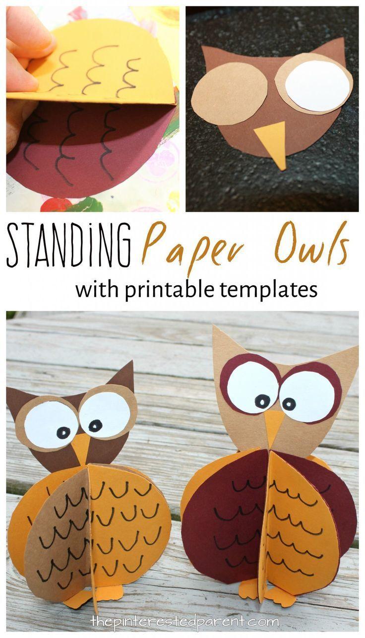 Standing Paper Owl Crafts Kids Crafts Fall Paper Crafts