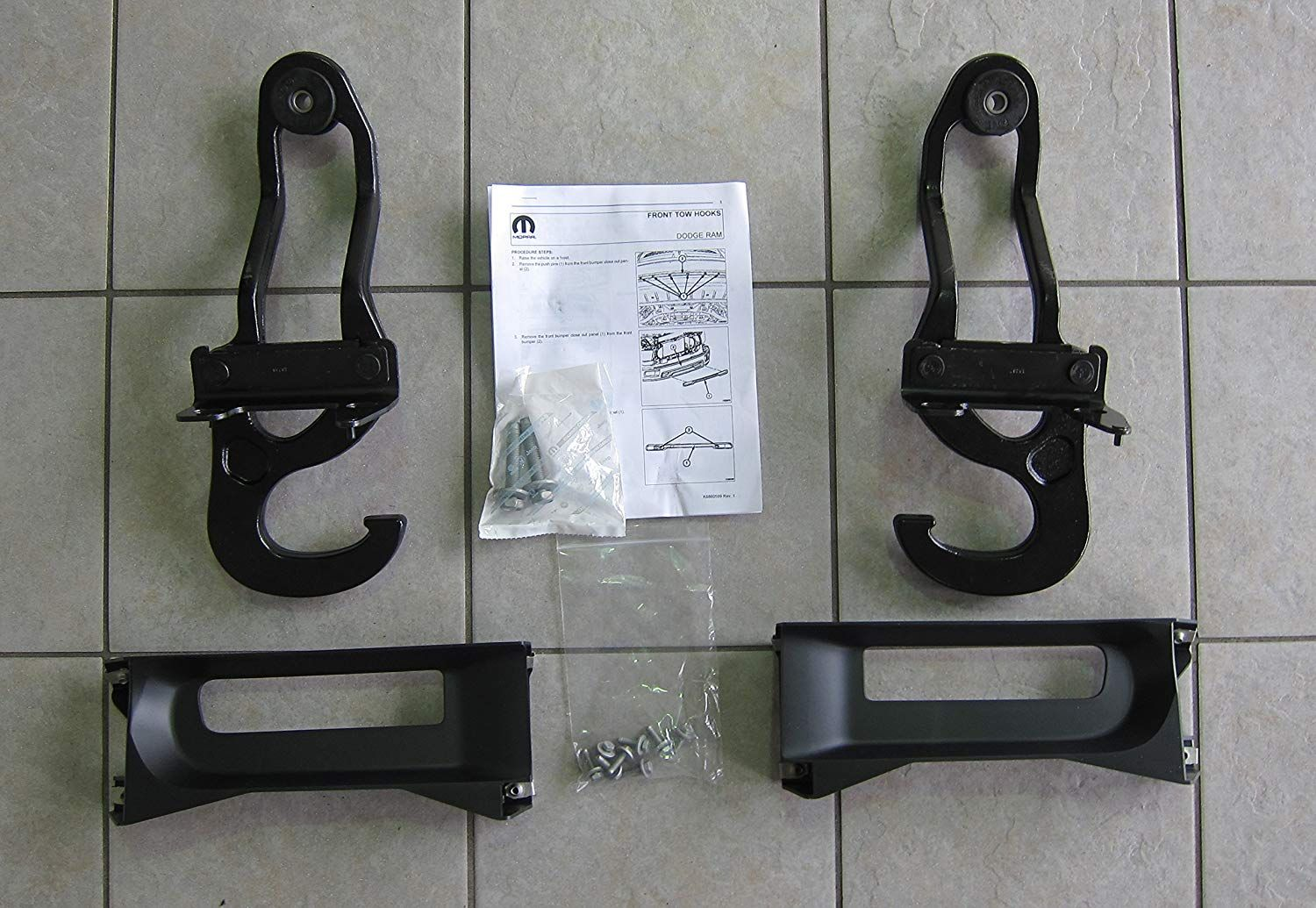 Mopar Dodge Ram 1500 Front Tow Hooks Steel Bumper Bezels Oem Price Curt 4way Round To Flat Trailer Wire Adapter Sharptruckcom 8444