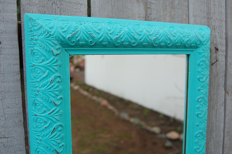 Mirror, Tiffany Blue, Upcycled, Distressed, Shabby Chic, Beach ...